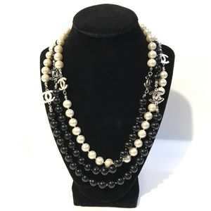 a5453752a1f5a Women Chanel Logo Pearl Necklace on Poshmark